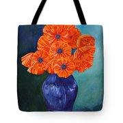 Oriental Poppies In Blue Tote Bag