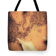 Origami Boats On World Map Tote Bag