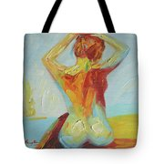 Original Abstract Oil Painting Female Nude Girl On Canvas#16-2-5-06 Tote Bag