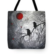 Original Abstract Surreal Raven Red Blood Moon Painting The Overseers By Madart Tote Bag