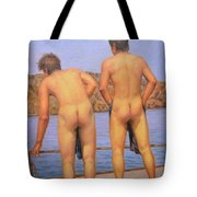 Original Oil Painting Art Male Nude Gay Interest Boy Man On Linen#16-2-5-12 Tote Bag