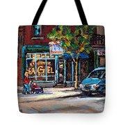 Original Art For Sale Montreal Petits Formats A Vendre Boulangerie St.viateur Bagel Paintings  Tote Bag