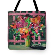 Original Bouquetaday Floral Painting By Elaine Elliott 59.00 Incl Shipping 12x12 On Canvas Tote Bag