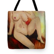 Original Fine Art Female Nude Sitting Yellow Red Background Multimedia Painting Tote Bag