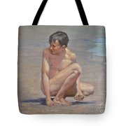 Original Oil Painting Art Male Nude Gay Boy On Linen#16-2-5-09 Tote Bag