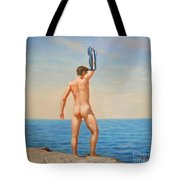 Original  Oil Painting Gay Art Male Nude By Body On Canvas#16-2-5-011 Tote Bag