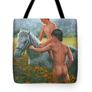 Original Oil Painting Gay Interest Male Nude Boy And Horse On Linen-0026 Tote Bag