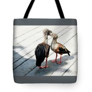 Orinoco Geese Touching Heads On A Boardwalk Tote Bag