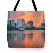 Orlando Skyscrapers And Palm Trees Tote Bag