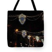 Ornamental Design Christmas Light Decoration In Madrid, Spain Tote Bag