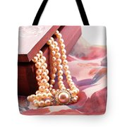 Ornate Box Carved And Pearl Necklace Detail Tote Bag