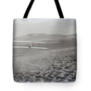Orville Making Right Turn Showing Warping Of Wings Hill Visible In Front Of Him Kitty Hawk North Car Tote Bag