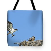 Osprey Brings Fish To Nest Tote Bag