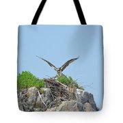 Osprey Landing On A Nest Tote Bag