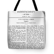 Otto Lilienthal: Patent Tote Bag