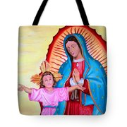Our Lady Of Guadalupe And Child Tote Bag