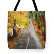 Our Road With Yellow Maple Tote Bag