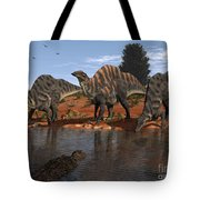 Ouranosaurus Drink At A Watering Hole Tote Bag