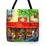 Outdoor Cafe On St. Denis In Montreal Tote Bag