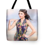 Outdoor Fashion Portrait. Spring Twilight Beauty Tote Bag