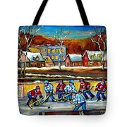Outdoor Hockey Rink Tote Bag