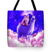 Outer Space Galaxy Kitty Cat Riding On Llama Tote Bag