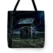 Outhouse In The Moonlight With Flying Crows Tote Bag