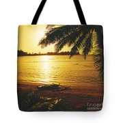 Outrigger At Sunset Tote Bag