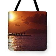 Outrigger Canoe At Sunset Tote Bag