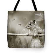 Over The Fence In Black And White Tote Bag