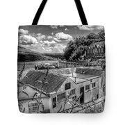 Over The Rooftops At Portree In Greyscale 2 Tote Bag