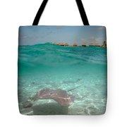 Over-under Water Of A Stingray At Bora Bora Tote Bag