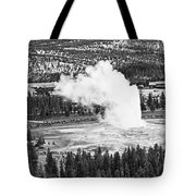 Overhead View Of Old Faithful Erupting. Tote Bag