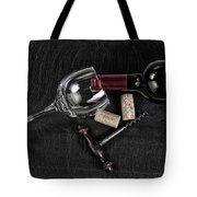 Overhead View Of Vintage Corkscrew With Red Wine Bottle And Glas Tote Bag
