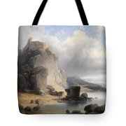 overlooking the castle ruins Devin Tote Bag