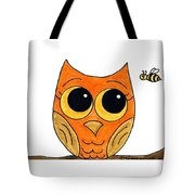 Owl And Bee Tote Bag