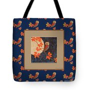 Owl And Moon On Midnight Blue Tote Bag