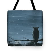 Owl And The Moon Tote Bag