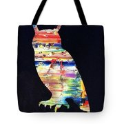 Owl On Black Tote Bag