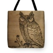 Owl Pyrography Tote Bag