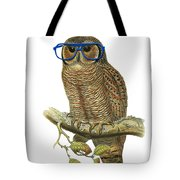 Owl Sitting On A Branch With Blue Glasses Tote Bag