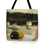 Owls Head Boats In The Snow Tote Bag