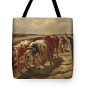 Oxen Plowing Tote Bag