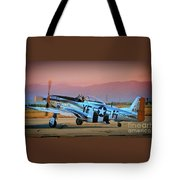P-51d Mustang 'dakota Kid II. The Long Island Kid' And Casey Odegaard Tote Bag