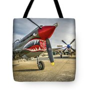 P40 Warhawk And P51d Mustang On The Ramp Tote Bag