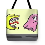 Pac Man And Ghost Illustration Tote Bag