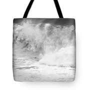 Pacific Ocean Breakers Black And White Tote Bag