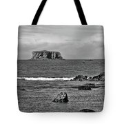 Pacific Ocean Coastal View Black And White Tote Bag