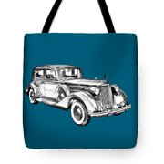 Packard Luxury Antique Car Illustration Tote Bag