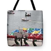 Paddleboats Waiting In The Inner Harbor At Baltimore Tote Bag